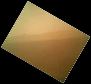 A month in space: First Color Image of the Martian Landscape Returned from Curiosity