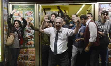 Restaurant owner shouts during Madrid demonstrations