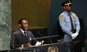 Teodoro Obiang Nguema Mbasogo, president of the Republic of Equatorial Guinea, speaks at the UN.