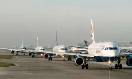 Planes queuing for takeoff at Heathrow airport in Britain