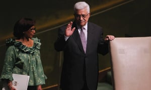 President of the Palestinian Authority Mahmoud Abbas gestures before addressing the 67th United Nations General Assembly at the U.N. Headquarters in New York, September 27, 2012.