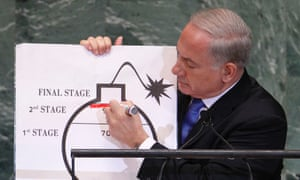 Benjamin Netanyahu draws a red line on a graphic of a bomb as he addresses the UN general assembly in New York.