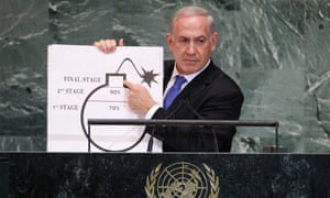 Benjamin Netanyahu uses a graphic as he addresses general assembly at UN headquarters in New York.