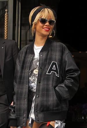 Bomber Jackets: Rihanna leaves her hotel in February 2012, London