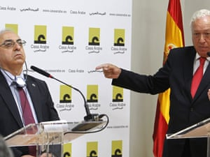 The Spanish foreign minister José Manuel García Margallo answers a question during a press conference with the head of the opposition Syrian National Council, Abdel Basset Sayda