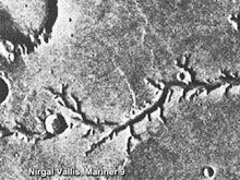 Nirgal Vallis, a dry river channel on Mars.