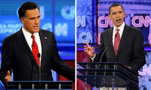 Romney and Obama debate composite