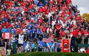 golf: Team Europe golfer Donald hits his tee shot
