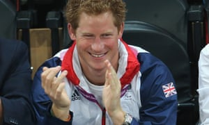 Prince Harry at the Paralympic goalball on 4 September 2012. Photograph: Chris Jackson/Getty Images