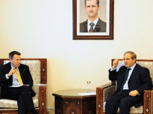 Syrian Deputy Foreign Minister Faisal al-Miqdad  meets with the President of the International Committee of the Red Cross Peter Maurer in Damascus, on September 4, 2012.