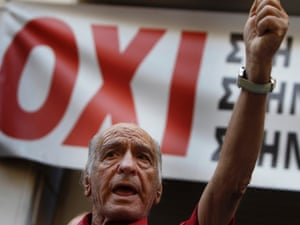 A pensioner shouts slogans in front of the Health Ministry during an anti-austerity rally in Athens September 4, 2012.