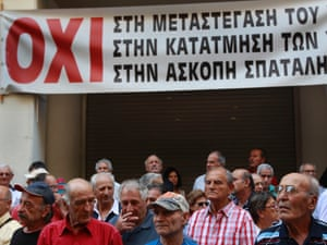 Pensioners stand in front of the Health Ministry as they take part in an anti-austerity rally in Athens September 4, 2012.