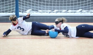 Great Britain's Jessica Luke and Georgina Bullen during the womens goalball match against Denmark.