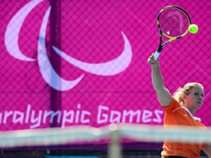 Esther Vergeer of the Netherlands serves on 3 September 2012. Photograph: Justin Setterfield/Getty Images
