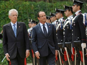 Italian Prime Minister Mario Monti and French President Francois Hollande in Rome, during a ceremony with honor guards at Villa Madama.
