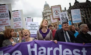 Demonstrators protest against disability benefit cuts on the Hardest hit march in 2011