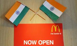 Indian flags adorn a McDonald's sign in New Delhi