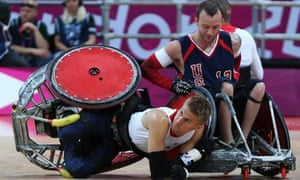 Steve Brown falls during a wheelchair rugby match against the USA
