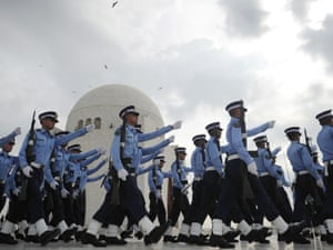 Pakistan Air Force cadets march outside the mausoleum of the country's founder, Mohammad Ali Jinnah in Karachi this morning, to mark the country's Defence Day.