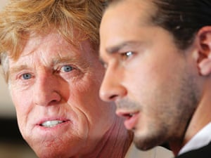 """Old blue eyes: director Robert Redford and actor Shia LaBeouf during the photocall of the film """"The company you keep"""" at the Venice Film Festival today."""