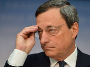 Mario Draghi, President of the European Central Bank (ECB), addresses the media following a meeting with the ECB's council in Frankfurt am Main, western Germany, on September 6, 2012.