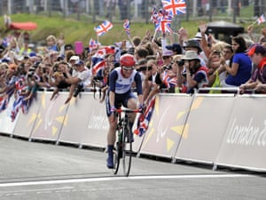 Britain's Sarah Storey celebrates rides to victory in the women's individual C4-5 road race cycling final  at the Brands Hatch circuit, in Kent, this afternoon.