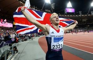 100m: Great Britain's Jonnie Peacock celebrates