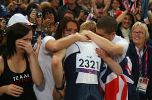 100m: Jonnie Peacock celebrates winning gold with friends and family