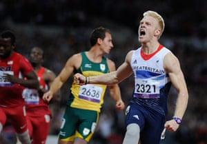 Tom Jenkins 100m: Jonnie Peacock of GB wins the race.