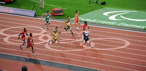 100m final batch 3: Great Britain's Jonnie Peacock