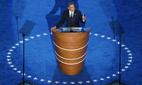 Barack Obama accepts his nomination at the Democratic national convention for a second term
