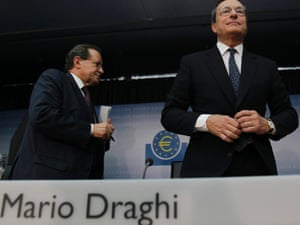European Central Bank (ECB) President Mario Draghi (R) and ECB Vice President Vitor Constancio leave the monthly news conference in FrankfurtSeptember 6, 2012.