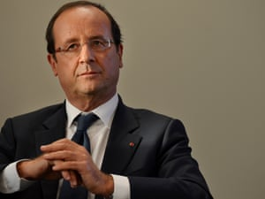 French President Francois Hollande, with British Prime Minister David Cameron, unseen, during a meeting following a press conference in east London Thursday, Sept. 6, 2012.