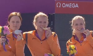 The Dutch gold, silver and bronze medal-winners: Esther Vergeer, Aniek van Koot and Jiske Griffioen.