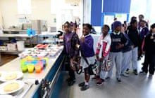 Children at Kingsmead Primary School in Homerton, east London at their breakfast club