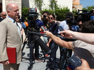 William Hague speaks to the media before  a meeting of EU foreign ministers in Cyprus.
