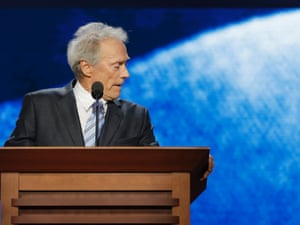 Clint Eastwood addressing an empty chair at the Republican National Convention in Tampa, Fla.