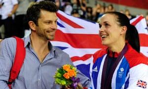 With boyfriend Scott Gardner after winning silver in the sprint this summer.