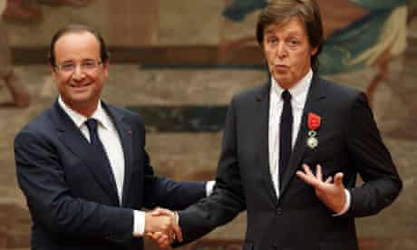 French president François Hollande awards former Beatle Sir Paul McCartney the Legion of Honour