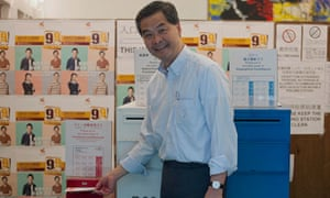 CY Leung casts his vote in Hong Kong elections