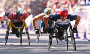 David Weir approaches the finish line to win the  T54 marathon