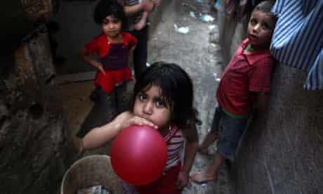 Palestinian children in Jabaliya refugee camp, Gaza Strip