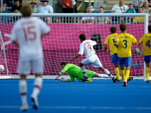In the final contest of the 2012 Paralympic Games, Russia face Ukraine in the men's 7-a-side football. Here, Eduard Ramonov gives Russia the lead.