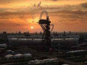 As the sun sets over the Olympic park, the closing ceremony gets underway