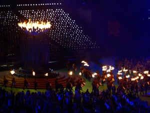 The Paralympic cauldron flame burns.