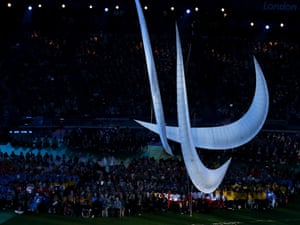 The symbol of the Paralympics - the agitos - made from inflatable materials is suspended in the centre of the stadium.