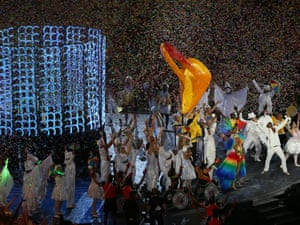 Brazilian performers take centre stage as the handover begins to Rio 2016.