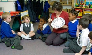 A teacher leads a lesson on numbers at a reception school