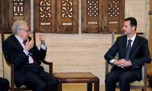 International envoy Lakhdar Brahimi and Syrian President Bashar al-Assad at their last meeting in Damascus on 24 December. Brahimi has now expressed doubt about whether Assad accepts the need for a political transition.