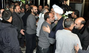 Freed Iranian hostages were were greeted by Iranian officials, at a hotel in Damascus, after they were released by Syrian rebels.